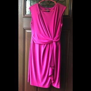 Fuschia Pink Side Tie Ruched Sleeveless Dress Sz 6